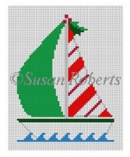 click here to view larger image of Candy Cane Sailboat (hand painted canvases)