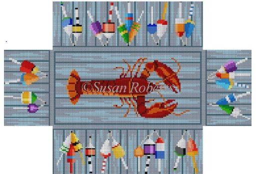 click here to view larger image of Lobster and Bouys Brick Cover (hand painted canvases)