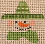 click here to view larger image of Green Snowman Star (hand painted canvases)