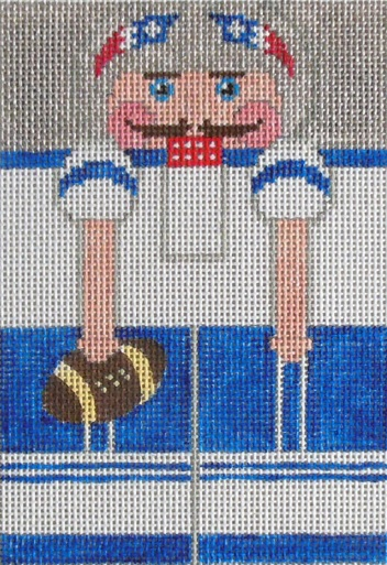 click here to view larger image of Patriot Football Rollup Nutcracker (hand painted canvases)