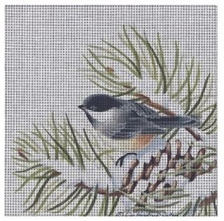 click here to view larger image of Chickadee in Pine Branch (hand painted canvases)