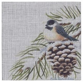 click here to view larger image of Chickadee on Pine Cone (hand painted canvases)
