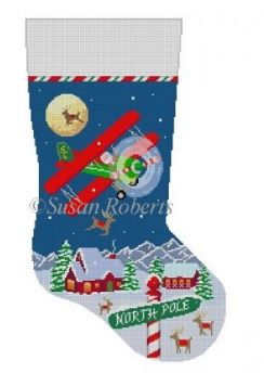 click here to view larger image of Night Flight Bi Plane Stocking (hand painted canvases)