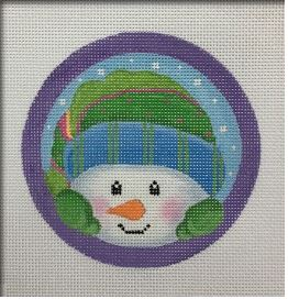 click here to view larger image of Peeking Snowman Ornament (hand painted canvases)
