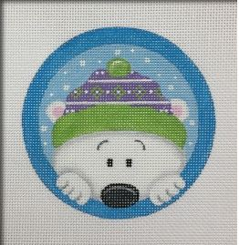 click here to view larger image of Peeking Polar Bear Ornament (hand painted canvases)