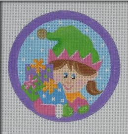 click here to view larger image of Girl Elf Ornament (hand painted canvases)
