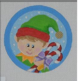 click here to view larger image of Boy Elf Ornament (hand painted canvases)