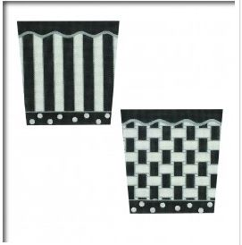 click here to view larger image of Black / White / Silver Basket (4 sides) (hand painted canvases)