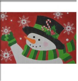 click here to view larger image of Candy Cane Snowman (13ct) (hand painted canvases)