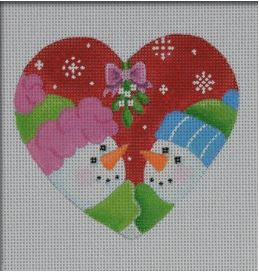 click here to view larger image of Mistletoe Couple Ornament (hand painted canvases)
