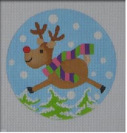click here to view larger image of Flying Reindeer Ornament (hand painted canvases)