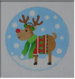 click here to view larger image of Tree Sweater Reindeer Ornament (hand painted canvases)