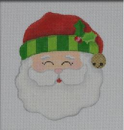 click here to view larger image of Jolly Santa Ornament - Green (hand painted canvases)