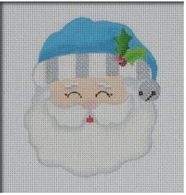 click here to view larger image of Jolly Santa Ornament - Turquoise (hand painted canvases)