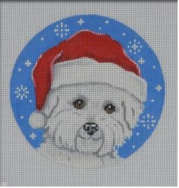 click here to view larger image of Bichon Santa Ornament (hand painted canvases)