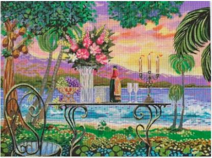 click here to view larger image of Dining By The Sea (hand painted canvases)