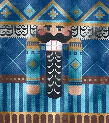 click here to view larger image of Blue/Brown Nutcracker Roll Up (hand painted canvases)