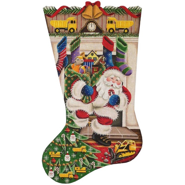 click here to view larger image of Out Of The Fireplace Stocking - Construction Toys - 13ct (hand painted canvases)
