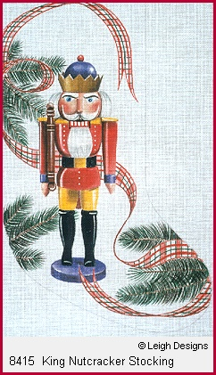click here to view larger image of King Nutcracker Stocking (hand painted canvases)