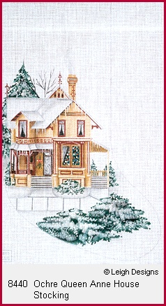 click here to view larger image of Ochre Queen Anne House Stocking (hand painted canvases)