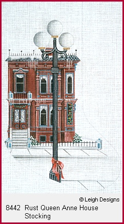 click here to view larger image of Rust Queen Anne House Stocking (hand painted canvases)