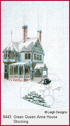 click here to view larger image of Green Queen Anne House Stocking (hand painted canvases)