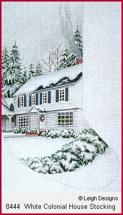 click here to view larger image of White Colonial House Stocking (hand painted canvases)
