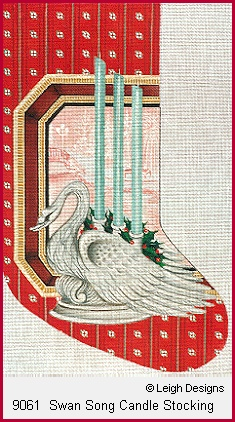 click here to view larger image of Swan Song Candle Stocking (hand painted canvases)