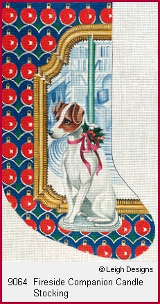 click here to view larger image of Fireside Companion Candle Stocking (hand painted canvases)