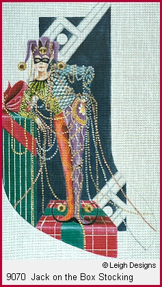 click here to view larger image of Jack On The Box Stocking (hand painted canvases)