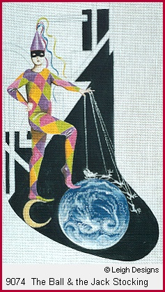 click here to view larger image of The Ball and The Jack Stocking (hand painted canvases)