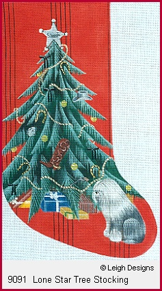 click here to view larger image of Lone Star Tree Stocking (hand painted canvases)