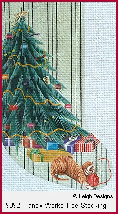 click here to view larger image of Fancy Works Tree Stocking (hand painted canvases)
