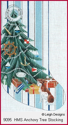 click here to view larger image of HMS Anchovy Tree Stocking (hand painted canvases)