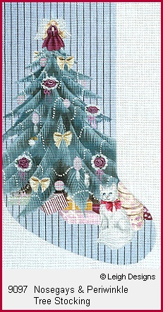 click here to view larger image of Nosegays and Periwinkle Tree Stocking (hand painted canvases)