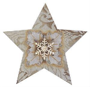 click here to view larger image of White Snowflake Star (hand painted canvases)