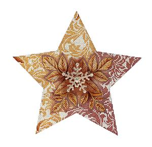click here to view larger image of Golden Snowflake Star (hand painted canvases)
