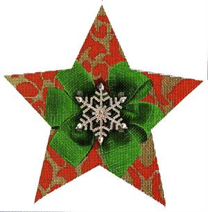 click here to view larger image of Red Snowflake Star (hand painted canvases)