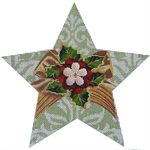 click here to view larger image of Holly Bling Star (hand painted canvases)