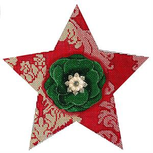 click here to view larger image of Red Damask Star (hand painted canvases)