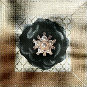 click here to view larger image of Black Flower Bling (hand painted canvases)
