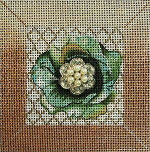 click here to view larger image of Green Bling Flower (hand painted canvases)