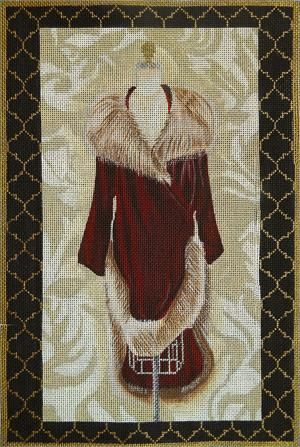 click here to view larger image of Burgundy Velvet Evening Coat (hand painted canvases)