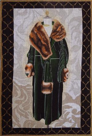 click here to view larger image of Green Velvet Evening Coat (hand painted canvases)