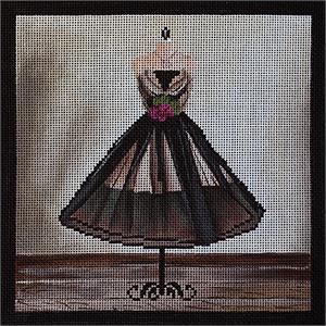 click here to view larger image of Black Chiffon Dress (hand painted canvases)
