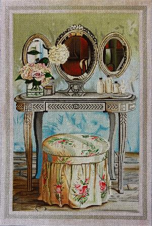 click here to view larger image of Shabby Chic Dressing Table (hand painted canvases)