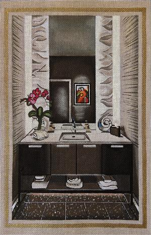 click here to view larger image of Modern Black Bathroom (hand painted canvases)