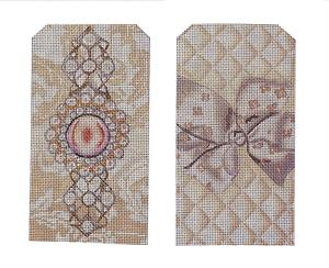 click here to view larger image of Ecru Jewel Eyeglasses Case (hand painted canvases)