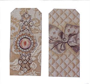 click here to view larger image of Small Ecru Jewel Eyeglasses Case (hand painted canvases)