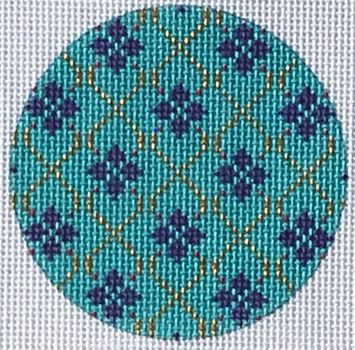 click here to view larger image of Diamonds Round Ornament (hand painted canvases)